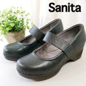 Sanita Size 40 9 Leather Work Mary Jane Clogs 3106